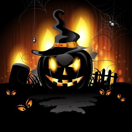 Halloween-Hintergrund mit Friedhof und Kürbis