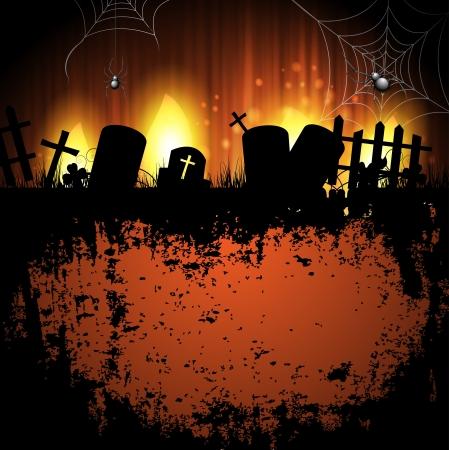 Halloween achtergrond met begraafplaats Stock Illustratie
