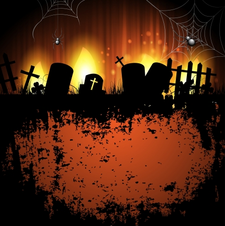cemeteries: Halloween background with cemetery