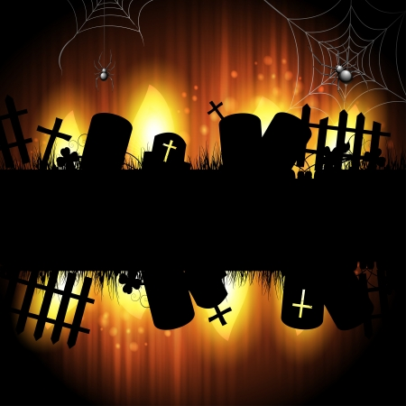 Halloween background with cemetery Vector