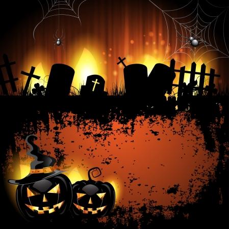 calabazas de halloween: Halloween de fondo con el cementerio y la calabaza