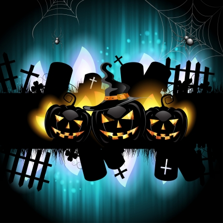 Halloween background with cemetery and pumpkin Vector