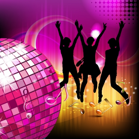 Musical notes with disco ball and silhouettes  Vector