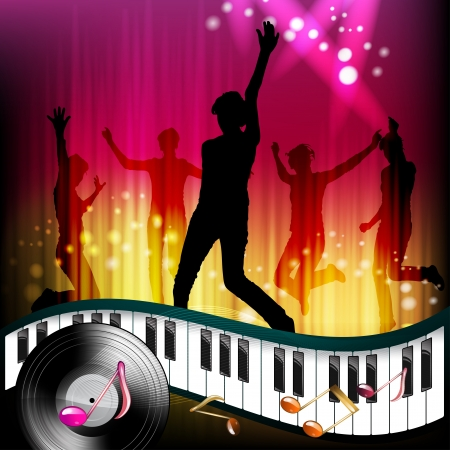 Piano keys with dancing silhouettes  Vector