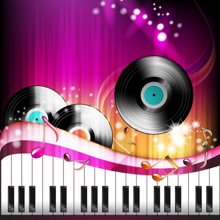 Piano keys with black vinyl record  Vector