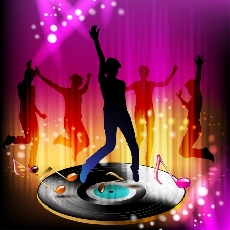 Dansende silhouetten met disco verlichting