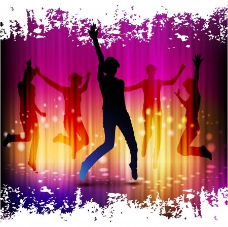 Dansende silhouetten met discolichten Vector Illustratie