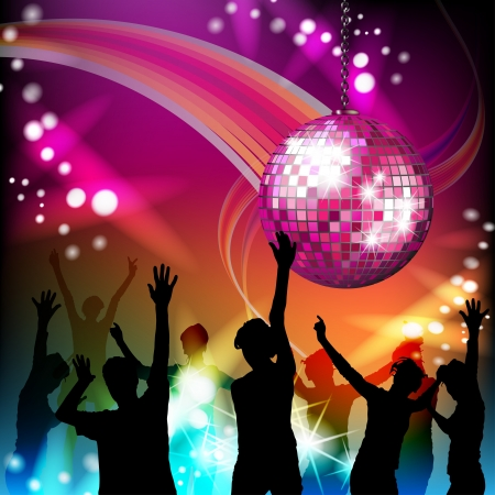 Disco ball and dancing silhouettes Illustration