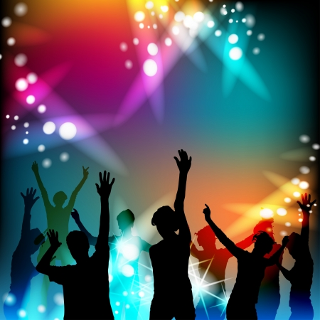 Dansende silhouetten met discolichten