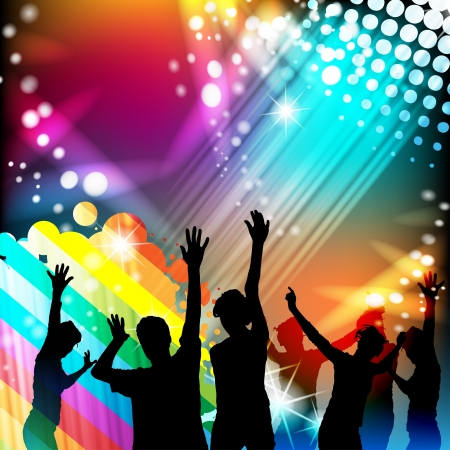 Dancing silhouettes with disco lights  Stock Vector - 15502495