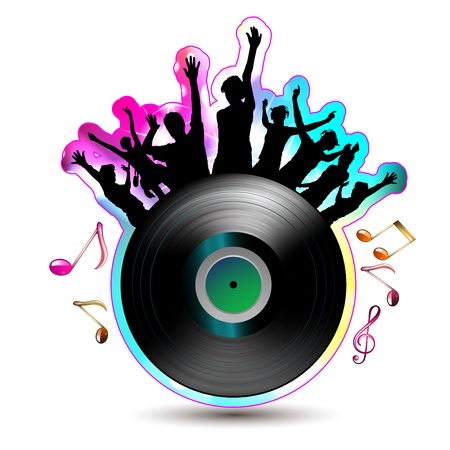 Disko ışıkları ve müzik notaları ile dans siluetleri