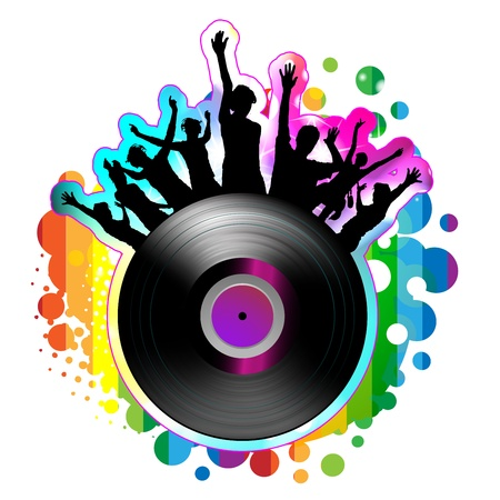 Dancing silhouettes with vinyl record  Illustration