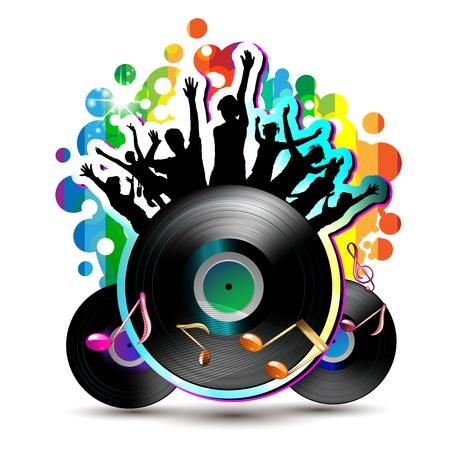 Ballando silhouette con luci da discoteca su bianco Vettoriali