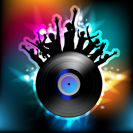 Vinyl record and dancing silhouettes  Illustration