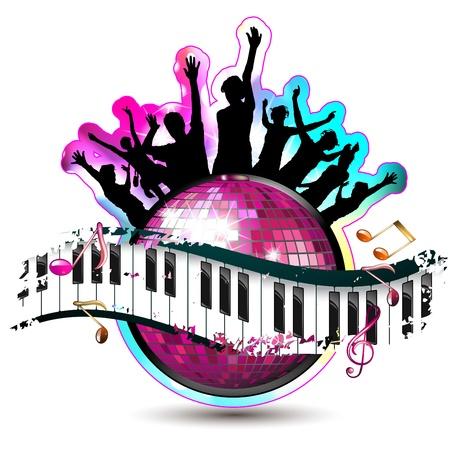 Piano toetsen met dansende silhouetten en discobal Stock Illustratie