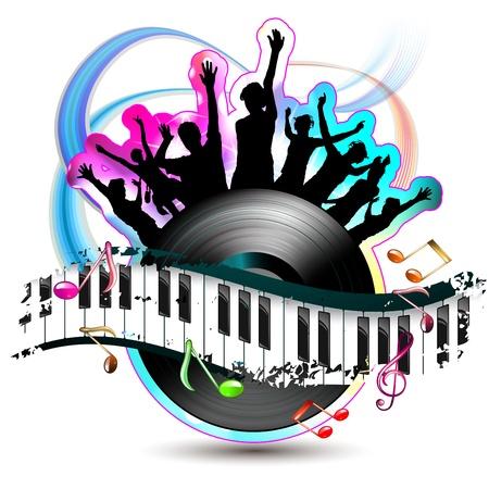Dans silüetler ve vinil rekor ile piyano tuşları