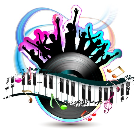 Piano keys with dancing silhouettes and vinyl record  Vector