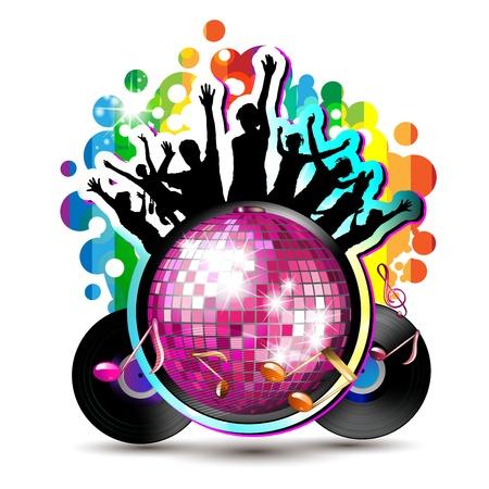 Kula disco z sylwetką tanecznych i płyty winylowej
