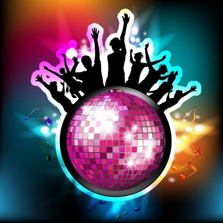 Disko ışıkları ile dans siluetleri