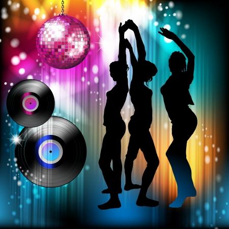 Bola de discoteca y baile siluetas Ilustración de vector