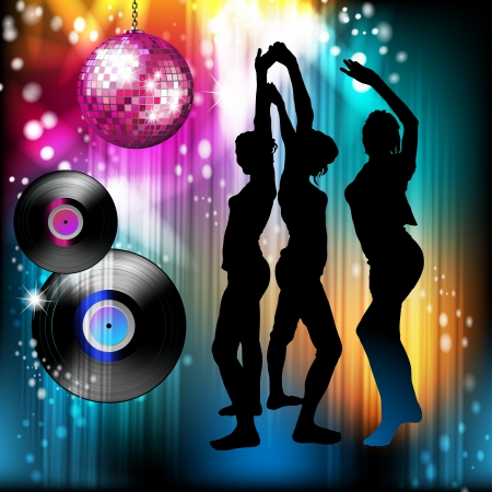 Disco ball i sylwetki tańczące Ilustracje wektorowe