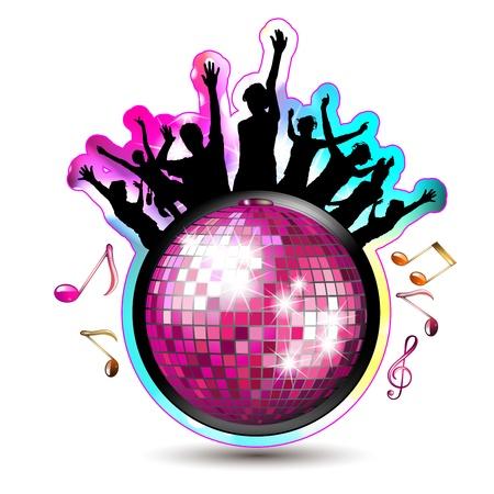 Dansende silhouetten met discobal Stock Illustratie