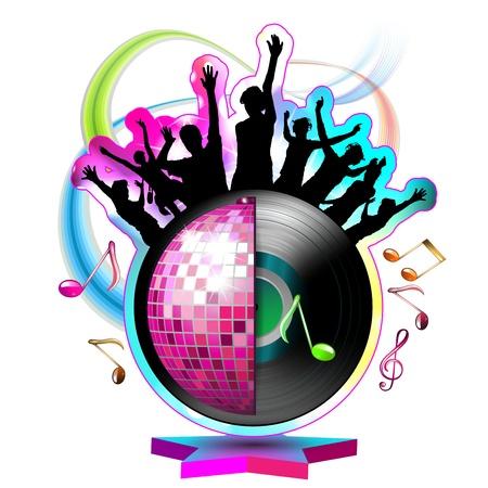 Beyaz bitti disko topu ile dans siluetleri