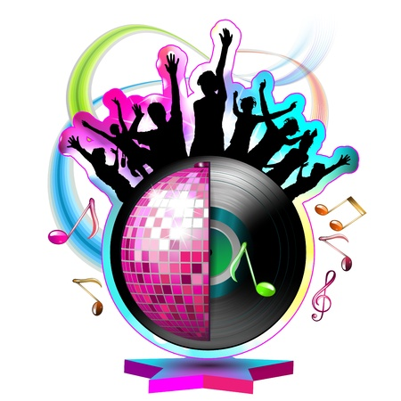 Dansen silhouetten met disco bal over wit