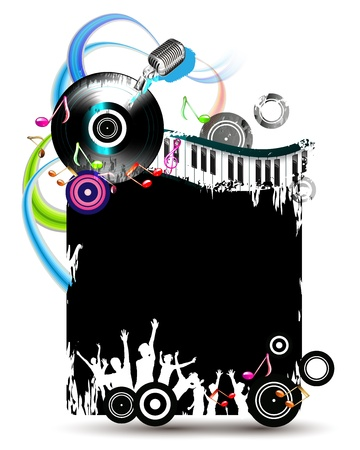Black banner with dancing silhouettes and vinyl record Vector