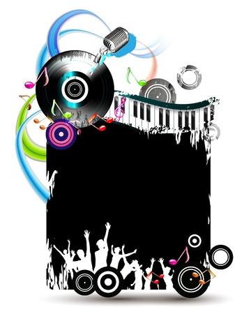 Zwarte banner met dansende silhouetten en vinylplaat Stock Illustratie