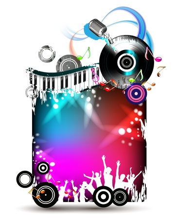 Banner with dancing silhouettes and vinyl record  Vector