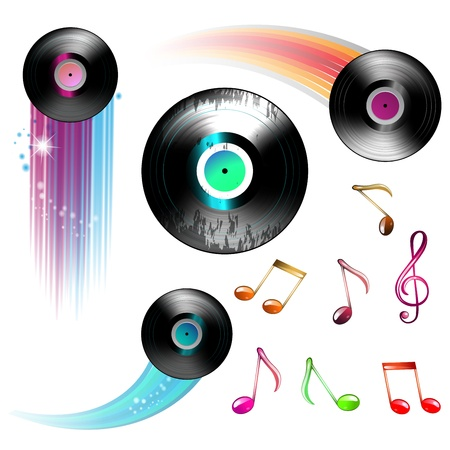 dvd cover: Vinyl record and music notes over white Illustration