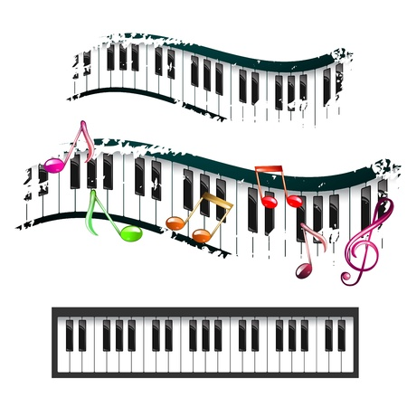 piano keyboard: Piano keyboard and music notes