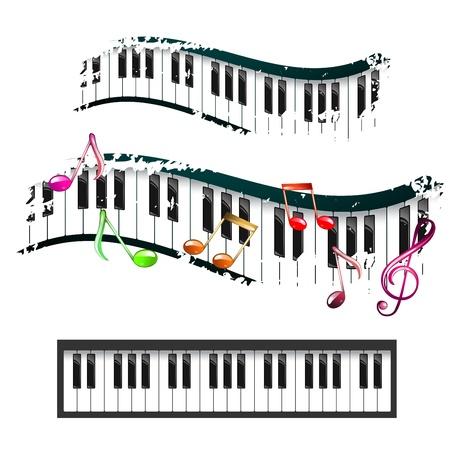 Piano keyboard en muziek noten