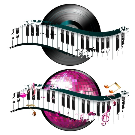 Vinyl record with disco ball and music notes Vector