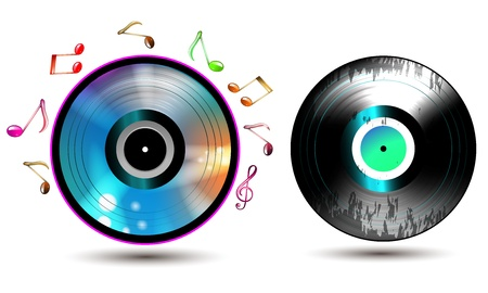 Vinyl record with CD and music notes Vector