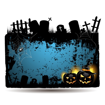 Halloween banner design with pumpkin and cemetery Vector