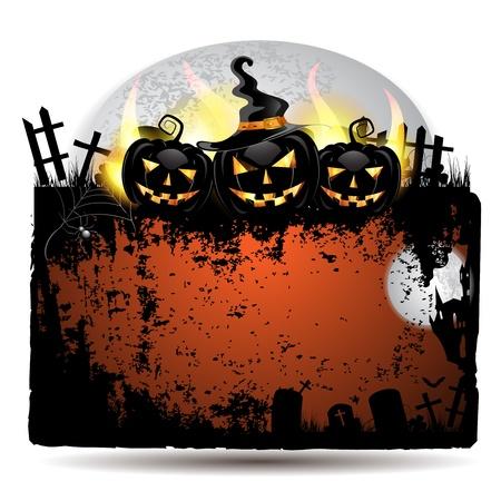 incendio casa: Bandera de Halloween con calabaza cementerio y