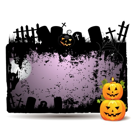 Halloween banner with cemetery and pumpkin Stock Vector - 15502466