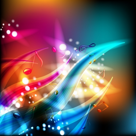 Abstract background with musical notes and lights Vector