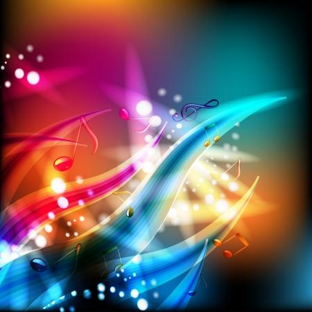 Abstracte achtergrond met muzieknoten en verlichting