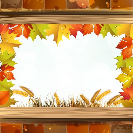 Frame with autumn colorful leaves and brick wall Vector