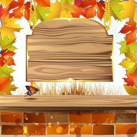 Frame with autumn colorful leaves and wood banner Stock Vector - 15478864