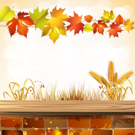 Autumn colorful leaves with brick wall Stock Vector - 15478865