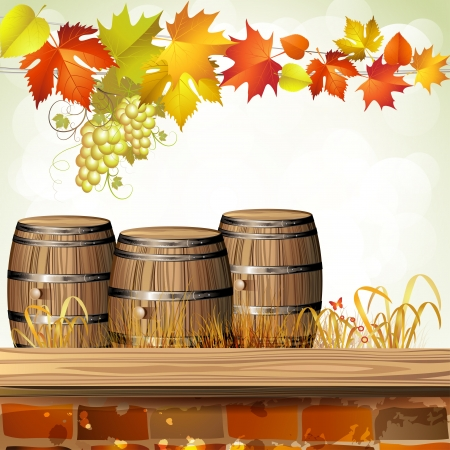 wooden barrel: Wood barrel for wine with autumn colorful leaves and grapes
