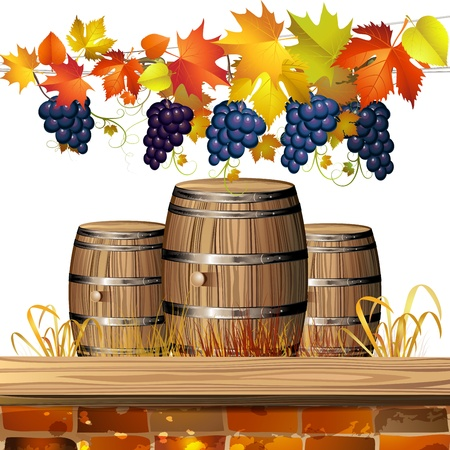 Wood barrel for wine with autumn colorful leaves and grapes