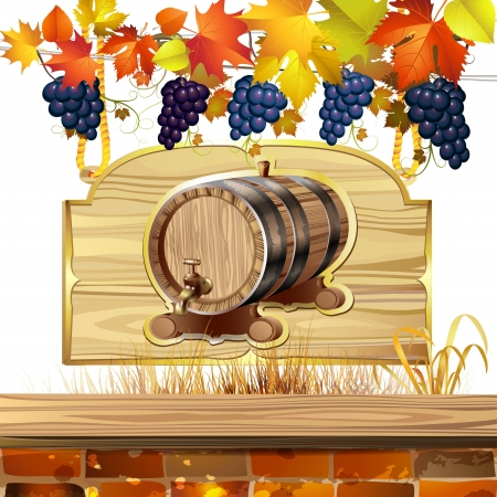 Wood barrel for wine with autumn colorful leaves and grapes Vector