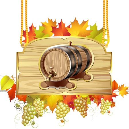 wood barrel: Wood barrel for wine with autumn colorful leaves and grapes