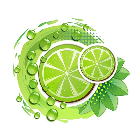 lime juice: Slice of lime with leafs and drops of juice Illustration