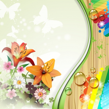 Wood background with lilies and drops